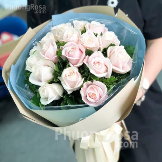 Bó hoa Sinh nhật Hoa Hồng Kem
