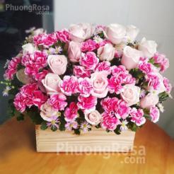 Lẵng hoa Sinh nhật Hoa Hồng Cẩm Chướng