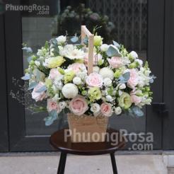Mẫu hoa Sinh Nhật Hoa Hồng kết hợp Cẩm Chướng, Cát Tường Xanh