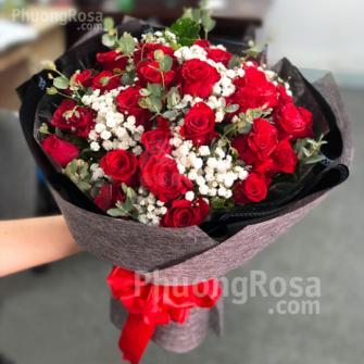 Bó hoa Sinh nhật Hoa Hồng Đỏ Thắm